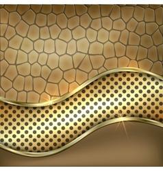 Metallic gold leather decorative background vector