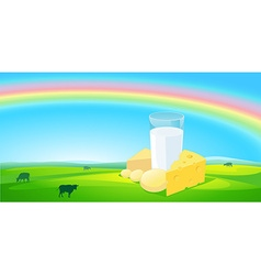 Milk products with rainbow natural background - vector