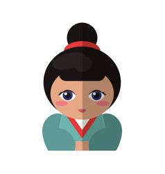portrait doll kokeshi geisha girl vector image