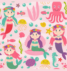 Seamless pattern pink with mermaid vector