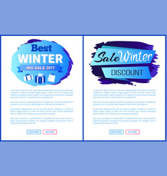 Winter big sale 2017 landing page posters vector