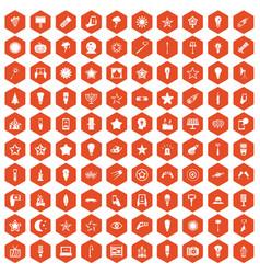 100 light icons hexagon orange vector