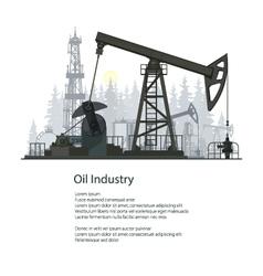 Oil Industry Poster Brochure Design vector image