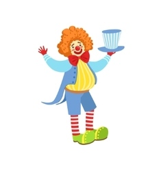 Colorful friendly clown holding top hat in classic vector