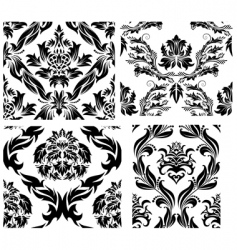 damask patterns set vector image