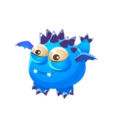 Blue spiky fantastic friendly pet dragon with tiny vector