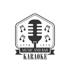 Old-fashioned stage microphone in frame karaoke vector
