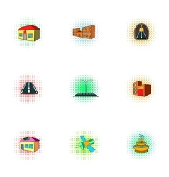 Building icons set pop-art style vector