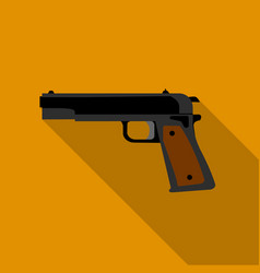 Military handgun icon in flat style isolated on vector