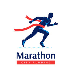 Running marathon logo or label runner with red vector