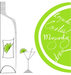 glass with bottle and lime vector image