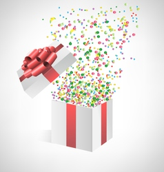Confetti with gift box on grayscale vector