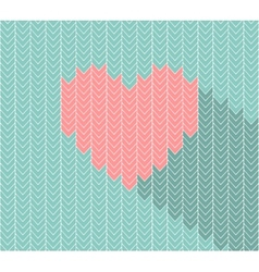 Flat heart icon in herringbone pattern vector