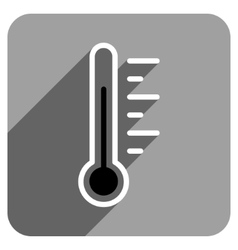 Temperature level flat square icon with long vector