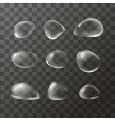 Set of transparent water drops vector image