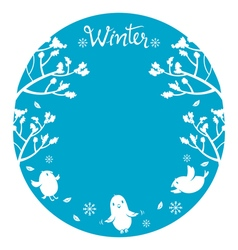 Winter tree with bird on circle frame vector