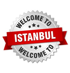 Istanbul 3d silver badge with red ribbon vector