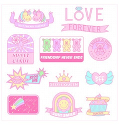 Cute girly badges girl sticker sweet pastel emblem vector