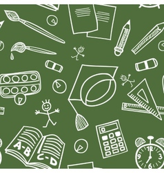 Back to school supplies doodles seamless pattern vector image vector image