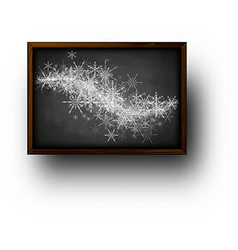 Background with blackboard and snowflakes vector