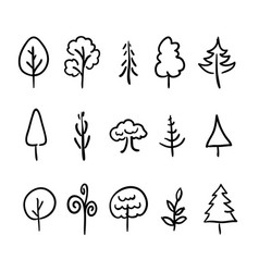 big set of hand-drawn modern icons of trees and vector image vector image
