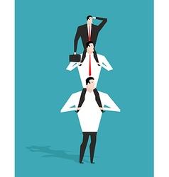 Career ladder Boss sitting on shoulders of deputy vector image vector image