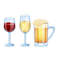 champagne beer vine set glass vector image vector image