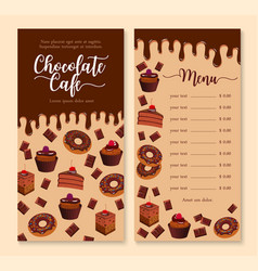 Chocolate cake and dessert menu template design vector