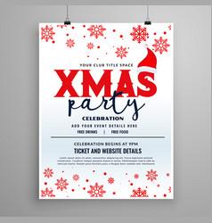 christmas party flyer design with santa claus cap vector image