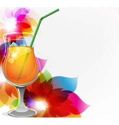 Cocktail and flowers vector