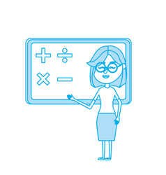 contour woman teacher teaching to the student in vector image vector image