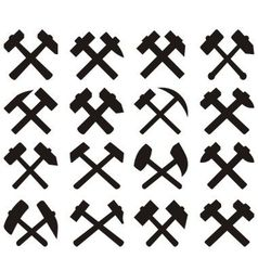 Crossed miners hammers set vector image vector image
