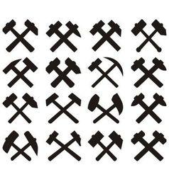 Crossed miners hammers set vector