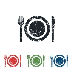 Dishware grunge icon set vector