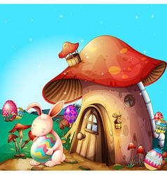 Easter eggs hidden near a mushroom-designed house vector
