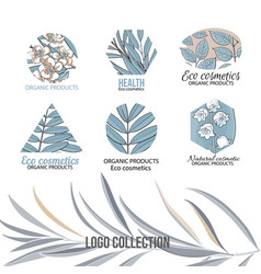 Eco cosmetics logo set with leaves and flowers vector