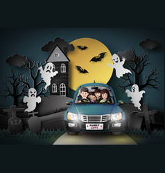 family driving in car with ghost vector image vector image