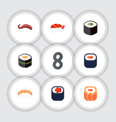 Flat icon maki set of sushi gourmet maki and vector