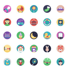 Flat icons set of baby and kids vector