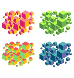 Floating isometric group of cubes composition vector