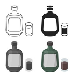 Herbal liqueur icon in cartoon style isolated on vector