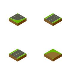 Isometric road set of road sand cracks vector