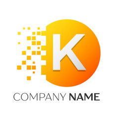 Letter k logo symbol in the colorful circle vector