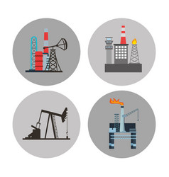 oil industry business icons vector image vector image
