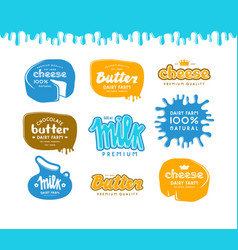 set of label for milk butter and cheese vector image vector image