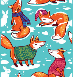 snowy seamless pattern with cartoon foxes in cozy vector image
