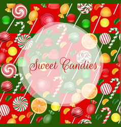 sweets background with lolipop and orange slice vector image