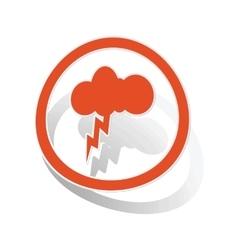 Thunderbolt sign sticker orange vector