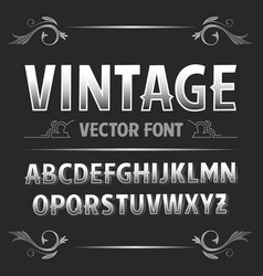 Vintage label font retro font vector