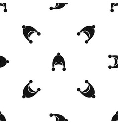 warm hat pattern seamless black vector image vector image